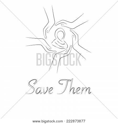 Open palms with female silhouette linear icon. Women's protection. Thin line illustration. Contour symbol. Vector isolated outline drawing. Editable stroke