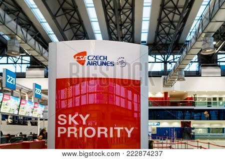 Prague, Czech Republic - December 2017: Czech Airlines check-in counter area at Prague Vaclav Havel Airport formerly known as Ruzyne. Czech Airlines is the flag carrier of the country.