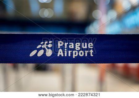 Prague, Czech Republic - December 2017: Prague airport sign at Prague Vaclav Havel Airport formerly known as Ruzyne. Prague Airport is the biggest airport in Czech Republic.