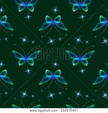 Glowing background with magic  butterflies and sparkling stars.Transparent butterfly and glowing stars in blue and green color.