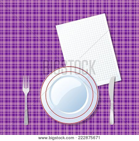 Vector illustration of plate, knife, fork and clear sheet with space for text on vioet checkered tablecloth background. Top view vector ilustration of table setting for dinner, template for design.