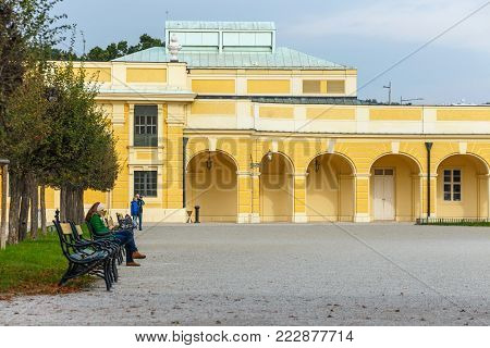 Vienna, Austria, October 14, 2016: Schonbrunn Palace in Vienna. Baroque palace is former imperial summer residence located in Vienna, Austria