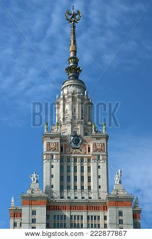 MOSCOW/ RUSSIA - MAY 28, 2016. Main building of Lomonosov Moscow State University (constructed 1949 - 1953). Moscow, Russia.
