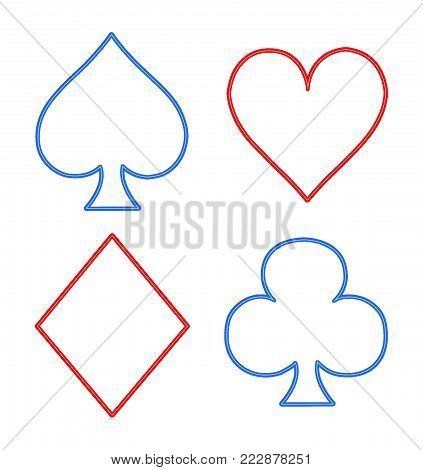 Illustration of revenge cards for poker in the style of NEON