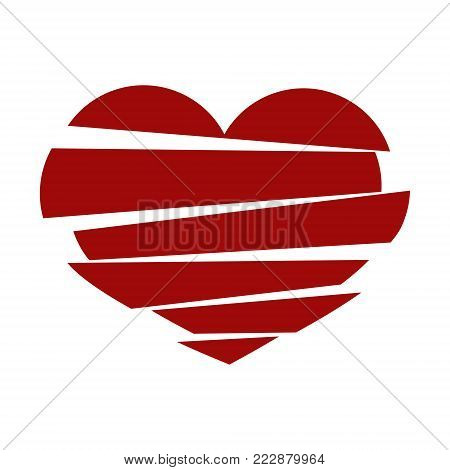 Red Stripes Broken Heart Vector On White Background. Could Be Used As Icon, Sign, Symbol, Flag, Stic