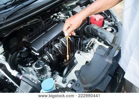 Close up professional mechanic checking engine oil car with detail of new car engine.