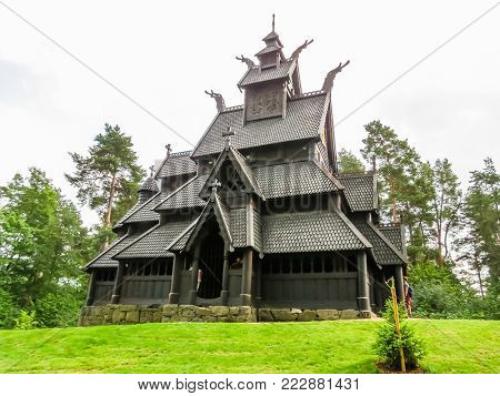 OSLO, NORWAY - JULY 27, 2013: Gol Stave Church - ancient wooden church in the Norwegian Museum of Cultural History or Norsk Folkemuseum. Landmark of Oslo, Norway capital