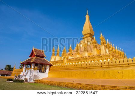 VIENTIANE, LAOS -   Wat Phra That Luang, One of the Most Sacred Temples in Vientiane,Religious architecture and landmarks of Vientiane, Laos