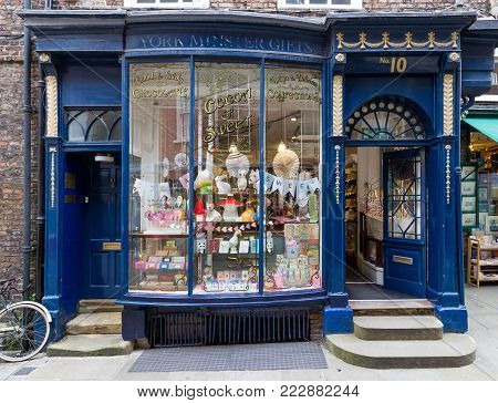 YORK, ENGLAND - JULY 4, 2017: Traditional shop front in the historic Shambles, York. The Shambles is famous for its association with the Harry Potter movies.