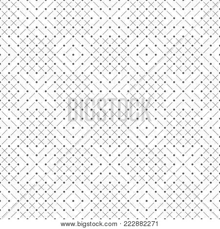 Vector seamless pattern. Trendy modern geometrical texture with small dots, thin lines, rhombuses, crosses. Minimal contemporary design