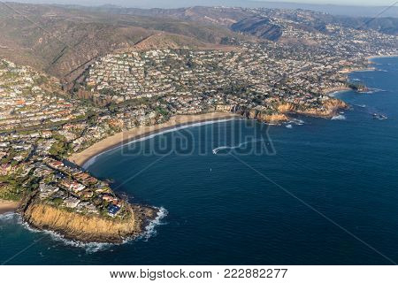 Aerial view of Emerald Bay Cove in Laguna Beach on the scenic Orange County coast in Southern California.
