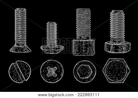 Metal bolts and screws. Hand drawn sketch on black background. Vector illustration