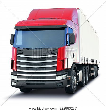 Creative abstract shipping industry, logistics transportation and cargo freight transport industrial business commercial concept: 3D render illustration of the freight or cargo semi-truck isolated on white background