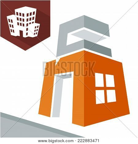 Icon logo initial for business development of construction services, with combination of letters N & C