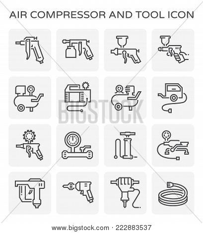 Air compressor and tool icon set isolated on white background.
