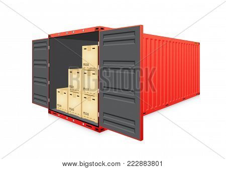 Vector of cargo container or shipping container and product carton box  for logistic  and transportation work isolated on white background.
