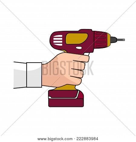 Screw Gun Icon. Human hand with impact wrench or screwgun vector. Electric screwdriver in male hand. Blank and white