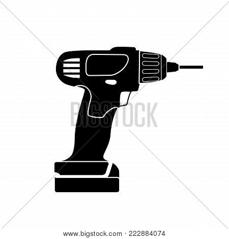Screw Gun Icon. Impact wrench or screwgun vector. Electric screwdriver symbol. Blank and white