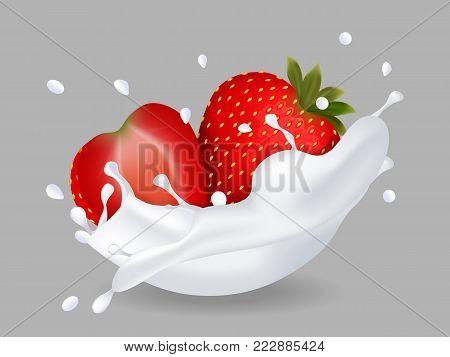 juicy sweet strawberry in milk splash. Milkshake with strawberry. Vector illustration.