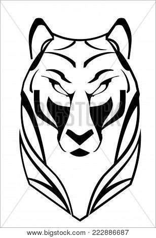 Tiger, Tiger Head. White Tiger On White Background.