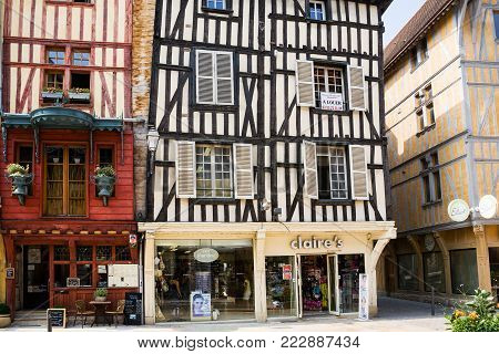 TROYES, FRANCE - JUNE 29, 2010: old half-timbered houses on Rue Emile Zola in Troyes city. Troyes is the capital of the Aube department in Champagne region of Northern France