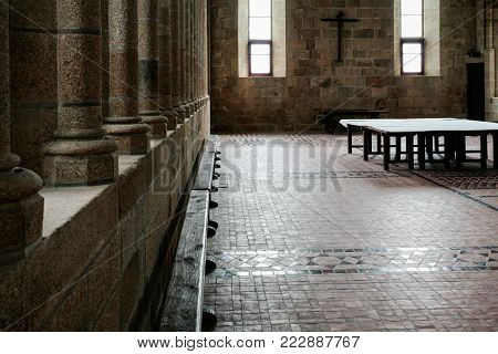 LE MONT SAINT-MICHEL - JULY 5, 2010: hall in Saint Michael's Abbey. Le Mont Saint-Michel is an island commune in Normandy, first monastic on the mount was built in the 8th century
