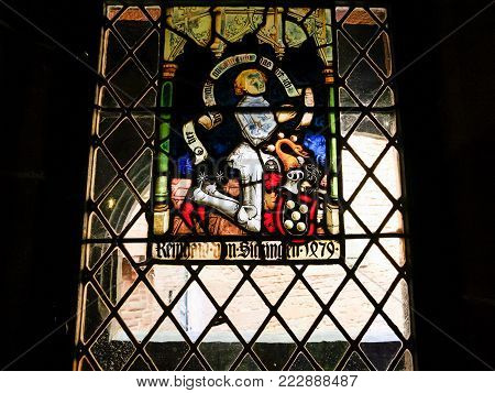 ORSCHWILLER, FRANCE - JULY 11, 2010: stained window in castle Chateau du Haut-Koenigsbourg in Alsace. First time the castle was mentioned in 1147, the building was restored and rebuilt in 1900-1908