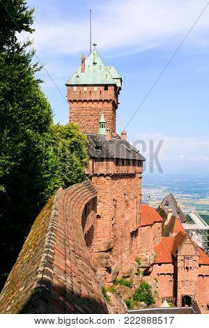 ORSCHWILLER, FRANCE - JULY 11, 2010: edifice of castle Chateau du Haut-Koenigsbourg in Alsace. First time the castle was mentioned in 1147, the building was restored and rebuilt in 1900-1908