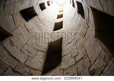 CHAMBORD, FRANCE - JULY 7, 2010: inner stair shaft in castle (donjon) Chateau de Chambord. Chambord is the largest chateau in Loire Valley, it was built as a hunting palace in 1519-1547 for Francis I
