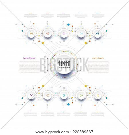 Infographic timeline technology template circuit with 3D and step,Business concept with options.For book,content,diagram,flowchart,steps, parts, infographics,workflow, layout,chart,Vector illustration