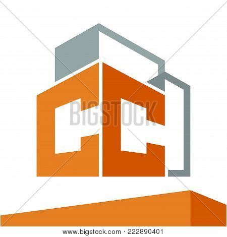 Icon logo initial for business development of construction services, with combination of letters C & C