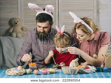 Easter, Mother, Father And Child In Bunny Ears
