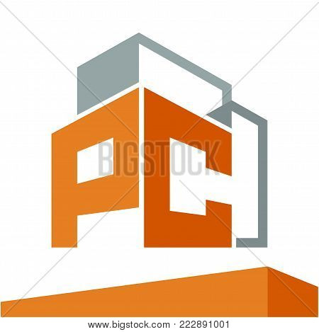 Icon logo initial for business development of construction services, with combination of letters P & C