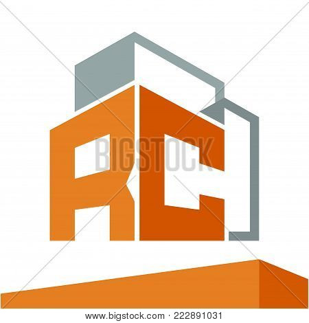 Icon logo initial for business development of construction services, with combination of letters R & C