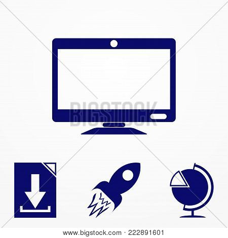 Monitor Icon. Screen Icon. Monitor Isolated On Greey Background