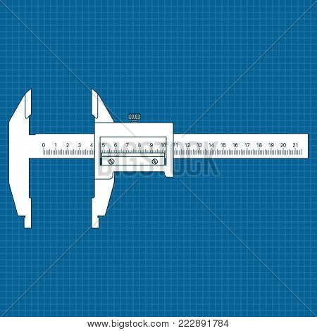 Caliper. Black drawing. Vector illustration isolated on white background
