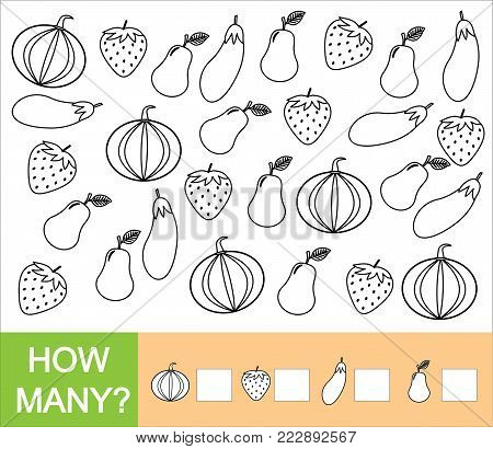 Count how many fruits, berries and vegetables (pear, strawberry, eggplant, pumpkin). Paint objects. Learning numbers, mathematics. Counting game for preschool children.