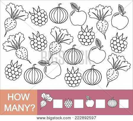 How many fruits, berries and vegetables (apple, blackberry, beet, pumpkin). Paint objects. Learning numbers, mathematics. Counting game for preschool children.
