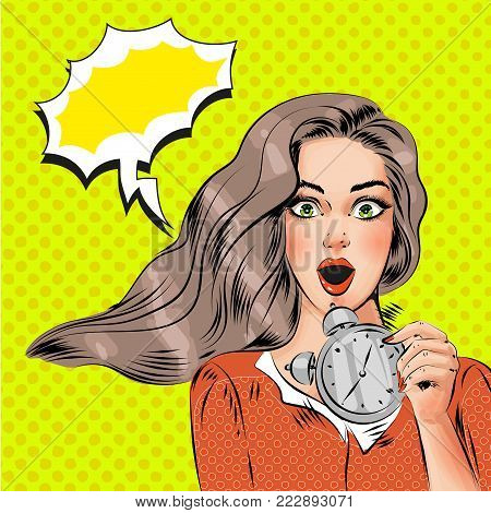Vector pop art beautiful girl with alarm clock. Panic, surprised or waking up late in the morning girl, speech bubble, comic book style.