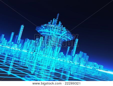 A Neon Grid Effect Backdrop With City