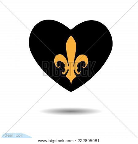The heart icon. A symbol of love. Valentine s Day. Heraldic Lily. Graphic and web design, logo. Black as coal. Vector. Shadow. Royalty Vector
