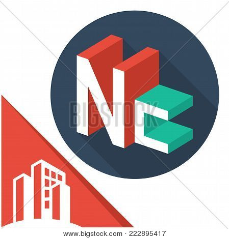 icon logo initials letters with isometric perspective style, with a combination of letters N & C
