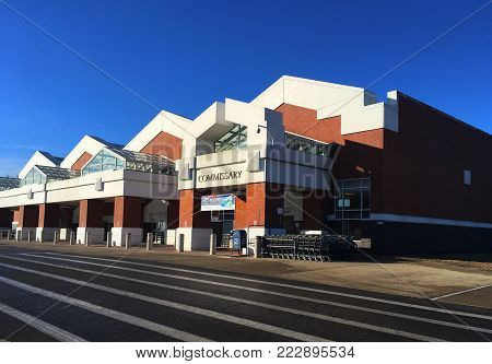 Belleville, IL--January 20, 2018, Defense Commissary Agency (DeCA) military service member grocery store on Scott AFB front entrance on sunny day