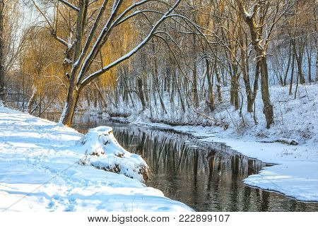 Scenic view of the river and trees covered by snow.