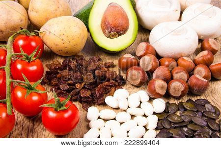 Ingredients or products containing potassium (K), natural sources of minerals, healthy lifestyle and nutrition.