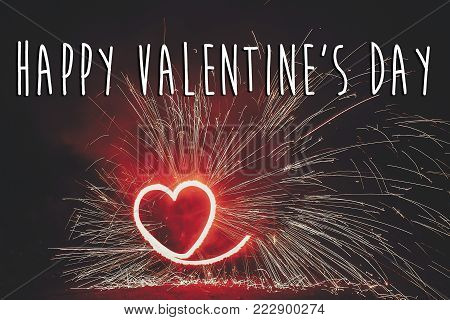 Happy Valentine's Day Text, Red Greeting Card. Red Fire Heart Firework On Black Background, Fire Sho