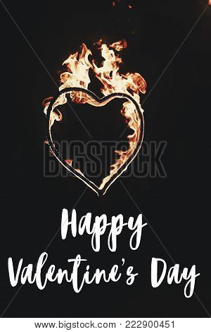 Happy Valentine's Day Text, Greeting Card. Fire Heart Firework On Black Background, Fire Show In Nig