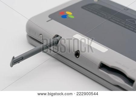 Bangkok, Thailand - Jan 18, 2018: Nintendo 3DS LL Stylus Super Famicom Edition. Portable game by Nintendo. Illustrative, editorial.