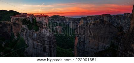 Breathtaking view from Meteora, Varlaam Monastery at sunset, Greece.