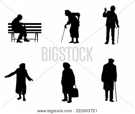 Vector illustration of silhouettes of older people